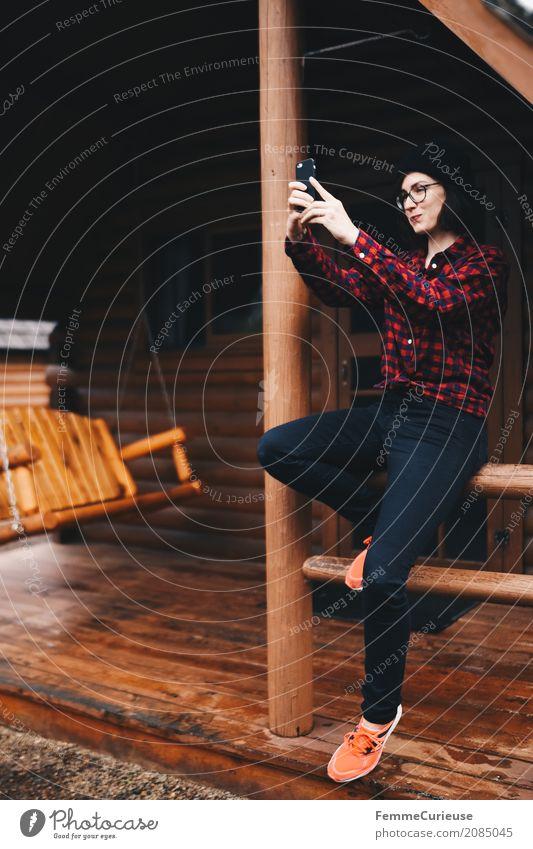 Roadtrip West Coast USA (50) feminin Junge Frau Jugendliche Erwachsene 1 Mensch 18-30 Jahre 30-45 Jahre Abenteuer Selfie Handy-Kamera Selbstportrait Karobluse