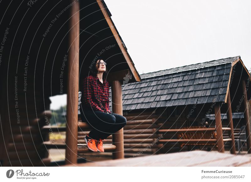 Roadtrip West Coast USA (55) feminin Junge Frau Jugendliche Erwachsene 1 Mensch 18-30 Jahre 30-45 Jahre Abenteuer Campingplatz Außenaufnahme Luft Karobluse