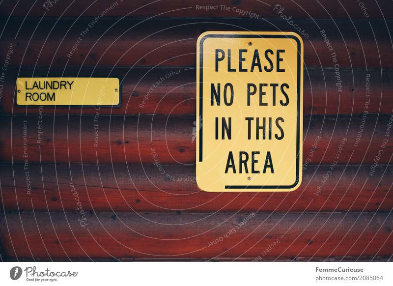 Roadtrip West Coast USA (67) Zeichen Schriftzeichen Schilder & Markierungen Hinweisschild Warnschild Dienstleistungsgewerbe Waschhaus Haustier Verbote Holzhütte
