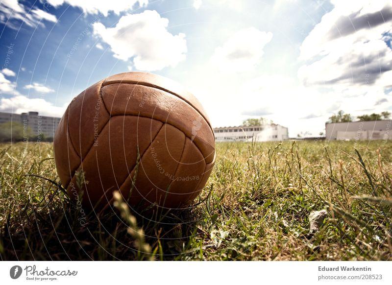 Fussballsommer Freizeit & Hobby Ballsport Fußball Sportstätten Fußballplatz hell Rasen Himmel Wolken Schönes Wetter braun Leder Gras Sommer Wiese Farbfoto