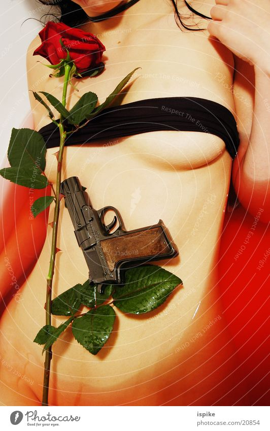 Rote Rosen rot Bad Pistole Blume Torso Waffe Schußwaffen