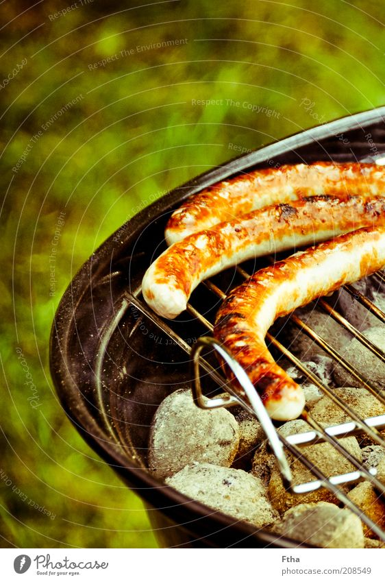 Gleich isses soweit Sommer Lebensmittel Feste & Feiern heiß lecker Grillen Duft Fett Mahlzeit Wurstwaren Bratwurst Fleisch Grill Grillrost Würstchen Sommerfest