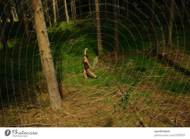 Namen Tanzen Mensch Natur Jugendliche grün Baum Pflanze Sommer Erwachsene Wald Erholung Freiheit Bewegung Stimmung Zufriedenheit elegant