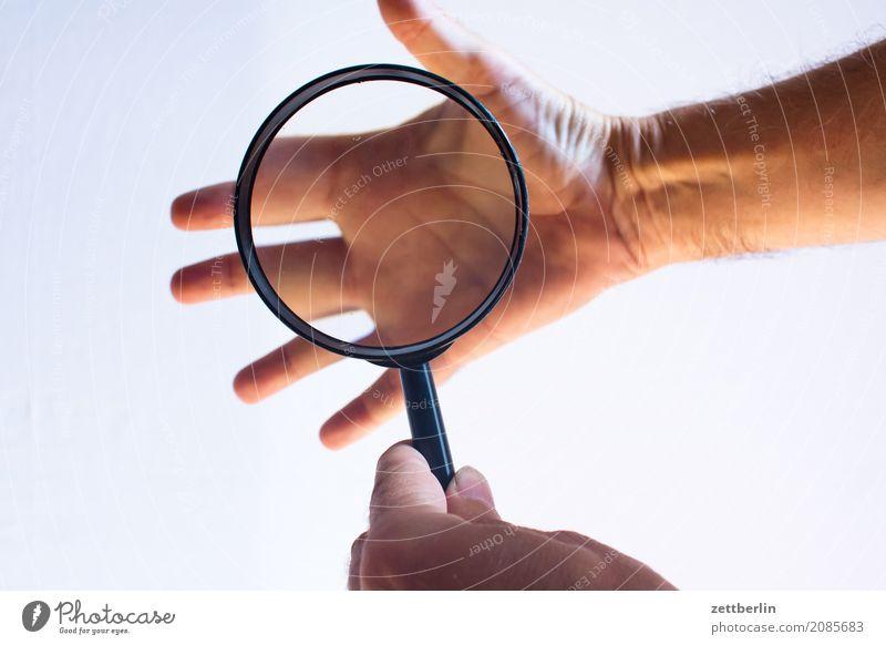 Hand beobachten Perspektive Blick handlesen Lupe Nahaufnahme Wahrheit Wahrsagerei Wissenschaften Handfläche Finger Daumen Zeigefinger Mittelfinger Ringfinger