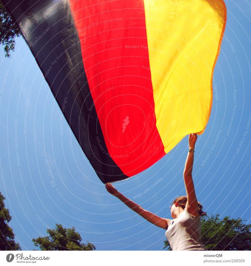 Flagge zeigen. feminin ästhetisch Deutschland Deutsche Flagge Fahne schwarz rot gold Weltmeisterschaft WM 2010 Stolz wehen Sommermorgen Frau Symbole & Metaphern