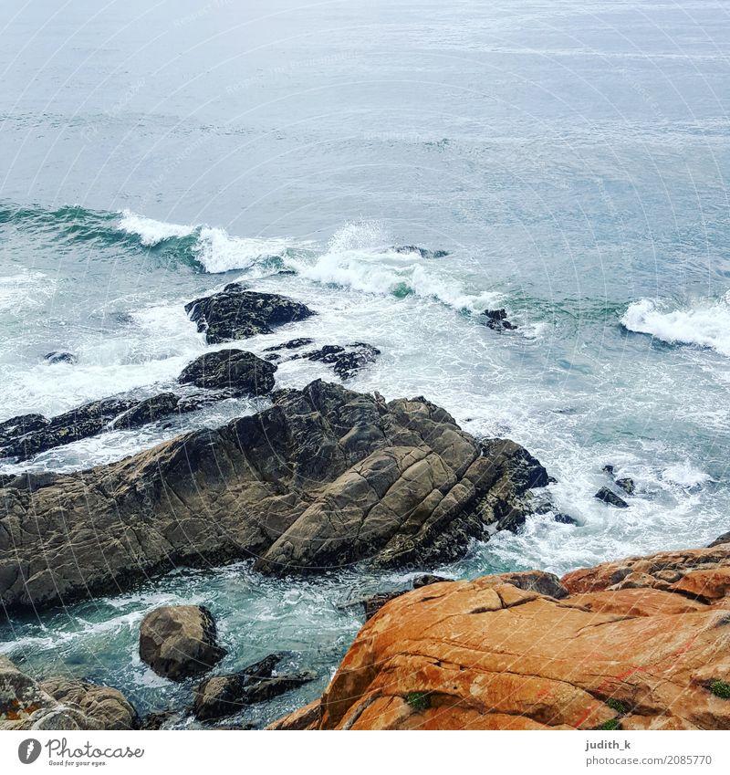 Atlantic ocean in Portugal Natur Ferien & Urlaub & Reisen blau Wasser Landschaft Meer Erholung Ferne Umwelt Küste Tourismus Schwimmen & Baden braun orange Erde