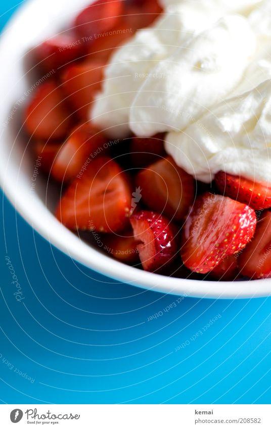 Erdbeeren mit Schlag Lebensmittel Milcherzeugnisse Frucht Süßwaren Sahne Schlagsahne Beeren Ernährung Dessert Teller Gesundheit lecker blau rot weiß Völlerei