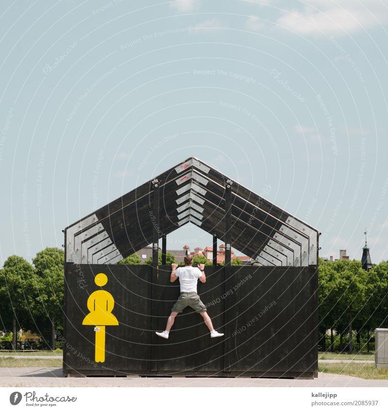 Mann beim spannen in Frauentoilette Mensch maskulin feminin Leben Körper 1 2 Zeichen Schriftzeichen Schilder & Markierungen Hinweisschild Warnschild festhalten