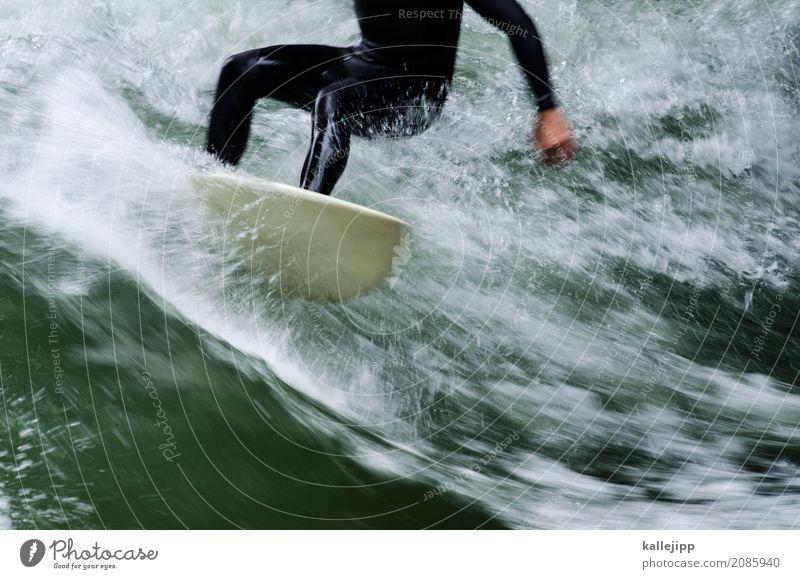 eisbachwelle Mensch Natur Ferien & Urlaub & Reisen Mann Sommer Wasser Freude Erwachsene Umwelt Leben Lifestyle Beine Sport Stil Glück Freizeit & Hobby