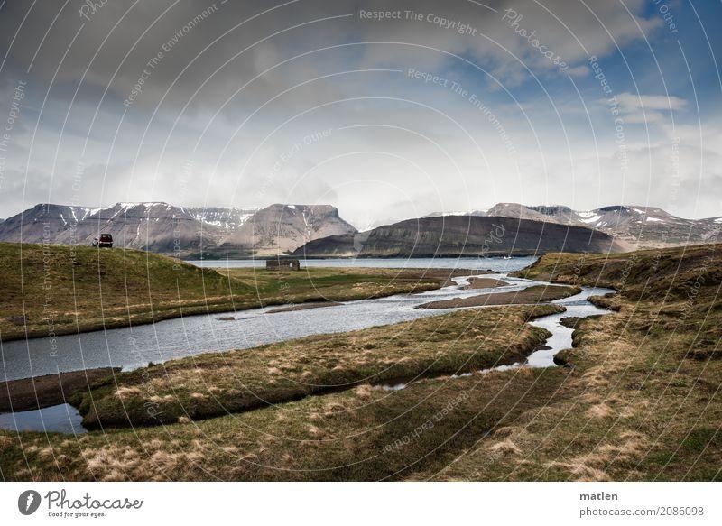 Amarfjördur Natur Landschaft Wasser Himmel Wolken Horizont Frühling Schönes Wetter Wind Gras Hügel Felsen Berge u. Gebirge Gletscher Küste Flussufer Fjord Meer