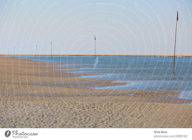 Priel mit Priggen Natur Ferien & Urlaub & Reisen blau Sommer Wasser Landschaft Meer Ferne Strand Umwelt Küste Freiheit Tourismus Horizont Ausflug Fluss