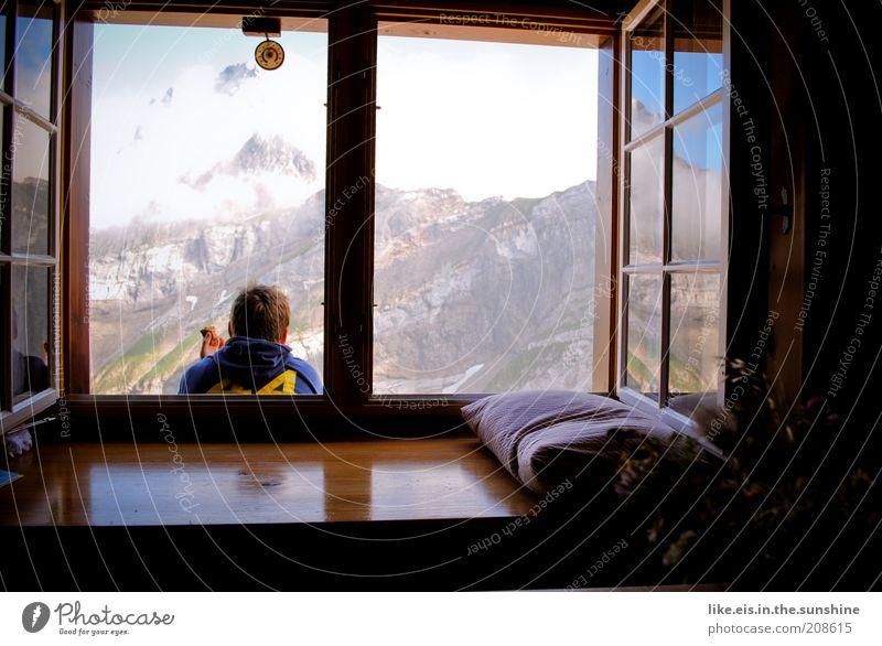 Frühstück deluxe! **** Kind Mann Jugendliche Freude Wolken Erholung Berge u. Gebirge Glück Zufriedenheit Erwachsene wandern maskulin Fröhlichkeit Abenteuer Schweiz Lebensfreude