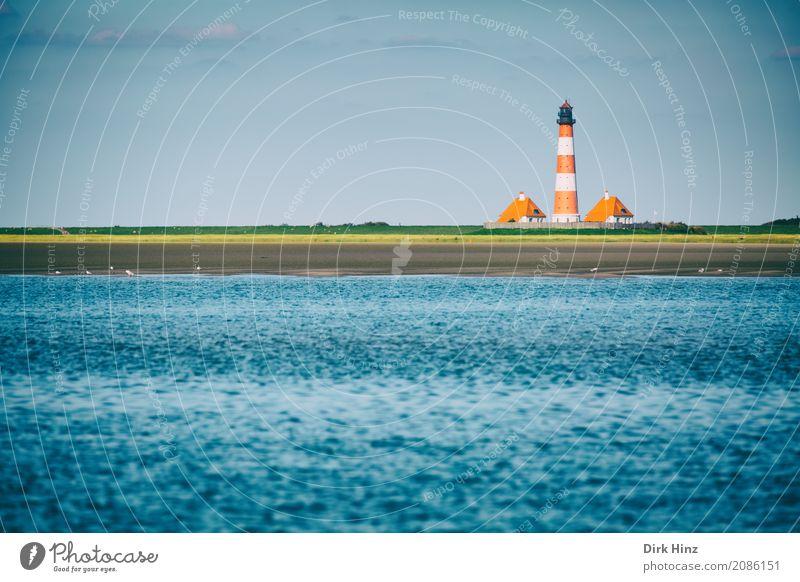 Leuchtturm Westerhever Ferien & Urlaub & Reisen alt blau Sommer Wasser Meer Ferne Strand Umwelt Freiheit Tourismus Horizont Ausflug Wellen Sommerurlaub Denkmal