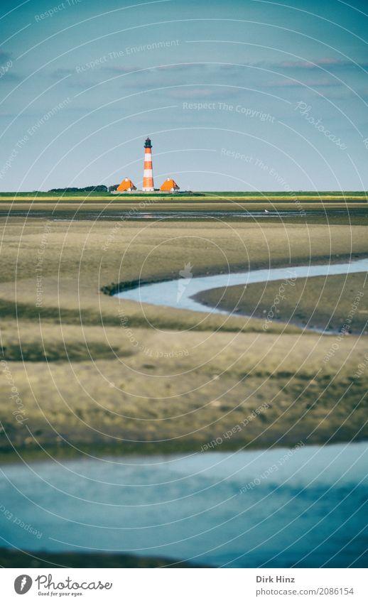 Leuchtturm Westerhever Ferien & Urlaub & Reisen Tourismus Ausflug Ferne Freiheit Sommer Sommerurlaub Strand Meer Küste Nordsee maritim Tradition Umweltschutz
