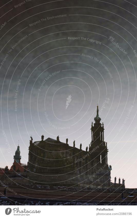 #A# Wasserschloß Kunst Kunstwerk Gemälde ästhetisch Dresden Hofkirche Dresden Barock historisch Historische Bauten Altstadt Sehenswürdigkeit Turm Kirche
