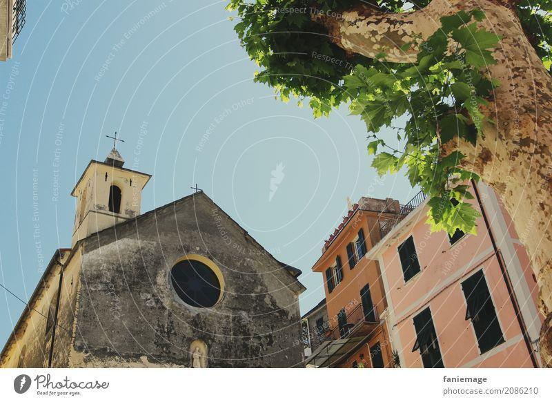 Cinque Terre X - Corniglia Dorf Kleinstadt Stadtzentrum Altstadt Haus alt Italien Ligurien Italienisch malerisch Marktplatz Kirche Baum Froschperspektive Altbau