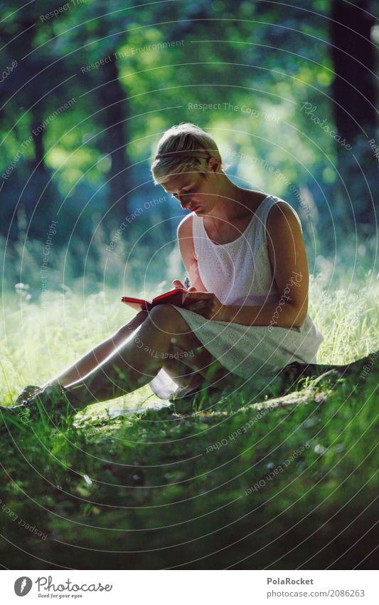 #A# Morgens im Park Kunst Kunstwerk ästhetisch Idylle Frau grün Erholung lesen schreiben Außenaufnahme Sommer sommerlich ruhig abgelegen Ruhepunkt friedlich