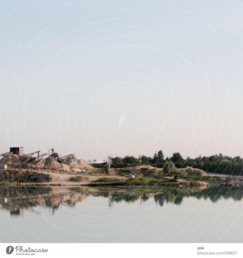 baggersee Natur Himmel blau See Landschaft Industrie Reflexion & Spiegelung Arbeitsplatz Kieselsteine Stein Morgen Sandbank