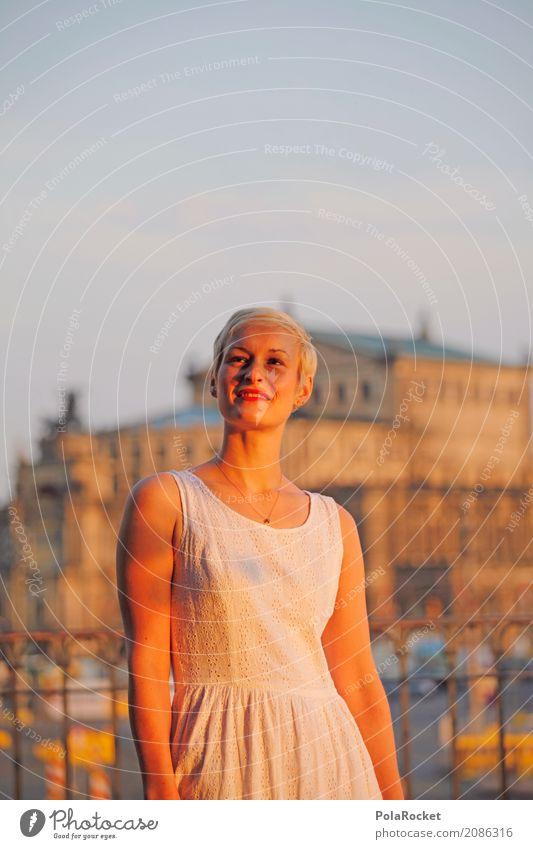 #A# Golden City Kunst ästhetisch Model Modellfigur Dresden blond Semperoper Altstadt Sehenswürdigkeit Städtereise Sommer Sommerurlaub Sonne Sonnenaufgang