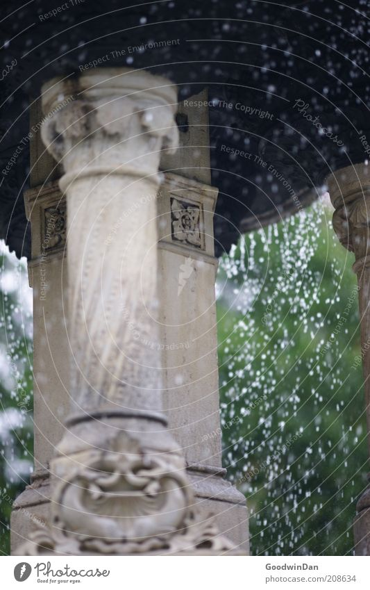 Prasselnd Wasser Wassertropfen Brunnen nass schön Stimmung Farbfoto Außenaufnahme Menschenleer Schwache Tiefenschärfe Säule Ornament Detailaufnahme