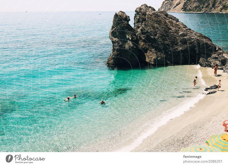 Cinque Terre XXI - Monterosso Lifestyle Natur Landschaft Sand Wasser Felsen Wellen Küste Meer heiß Italien Ligurien Italienisch Reisefotografie