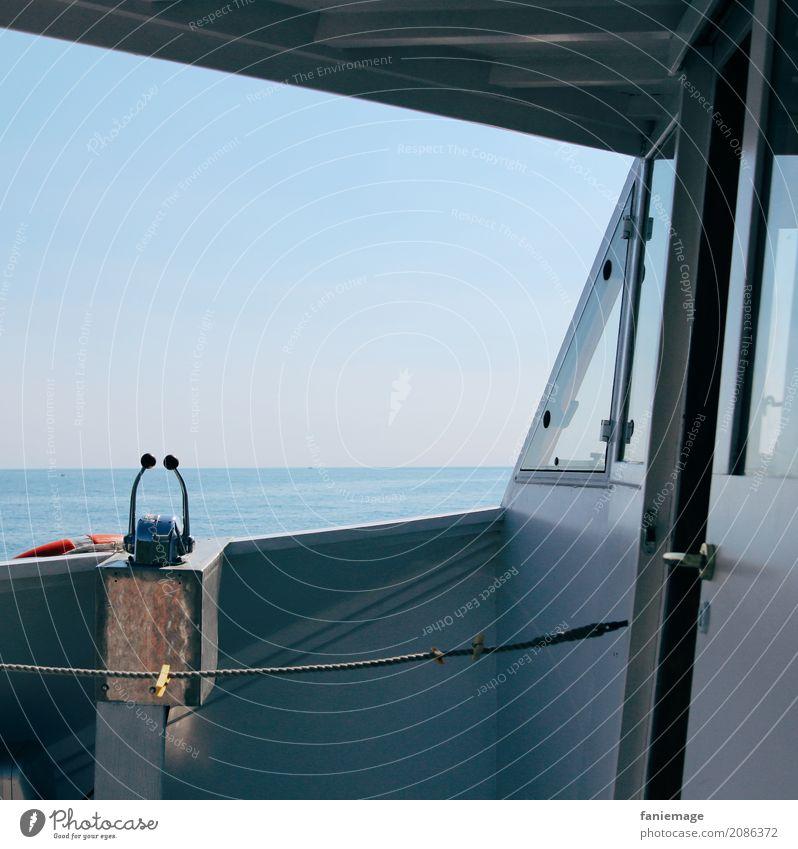 Cinque Terre V Lifestyle genießen Bootsfahrt Wasserfahrzeug Lenkrad Seil Meer Italien Mittelmeer mediterran schaukeln blau Schatten Pause fahren Gas Tourismus