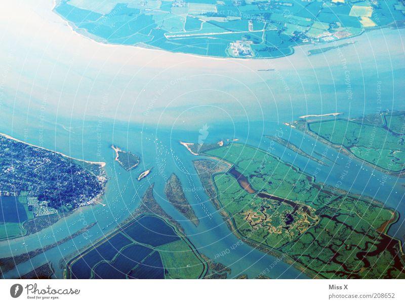 Delta Meer Strand Ferien & Urlaub & Reisen Ferne Freiheit Küste Flugzeug fliegen Verkehr Luftverkehr Insel Tourismus Hafen Bucht Verkehrswege Schifffahrt