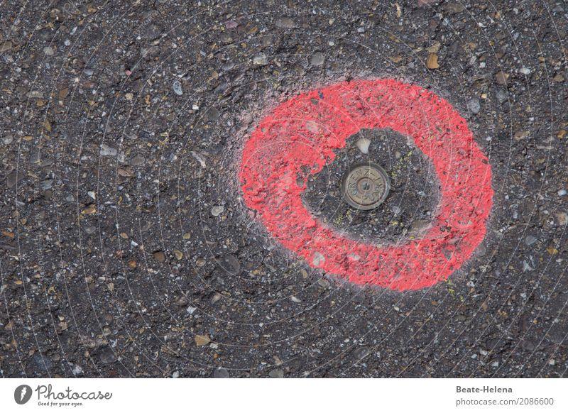Auf den Punkt gebracht rot schwarz Auge Straße Verkehr Kommunizieren Ordnung Schilder & Markierungen Hinweisschild Zeichen planen entdecken Sehenswürdigkeit