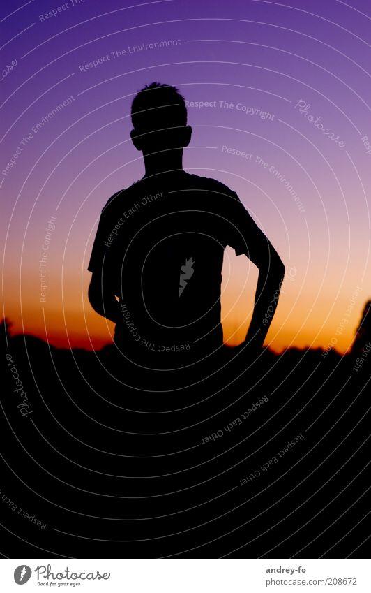 Silhouette Mensch Himmel Mann Jugendliche Sommer ruhig dunkel Luft Stimmung Zufriedenheit gold Arme maskulin stehen violett