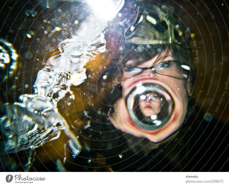 lippenbläschen Gesicht Rauschmittel Mensch feminin Frau Erwachsene Kopf Wasser träumen Krone König Blase Spiegelbild Illusion Alptraum Märchen Schneewittchen
