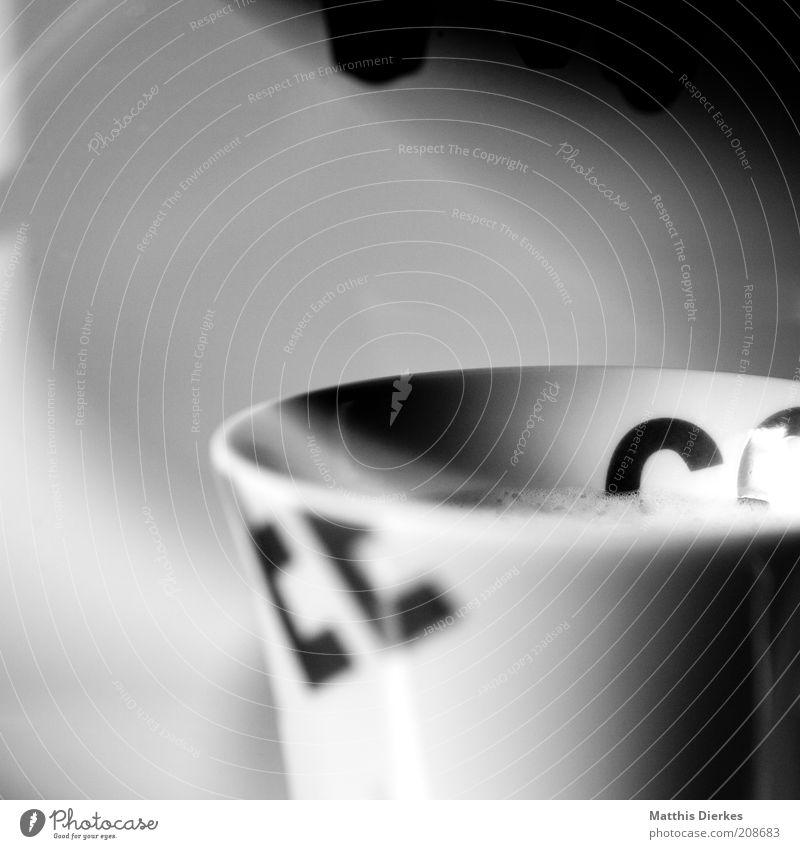 EECO Lebensmittel Kaffeetrinken Getränk Heißgetränk Latte Macchiato Espresso Tasse Becher Duft heiß lecker Wärme schwarz weiß Kaffeetasse Kaffeepause Nachmittag