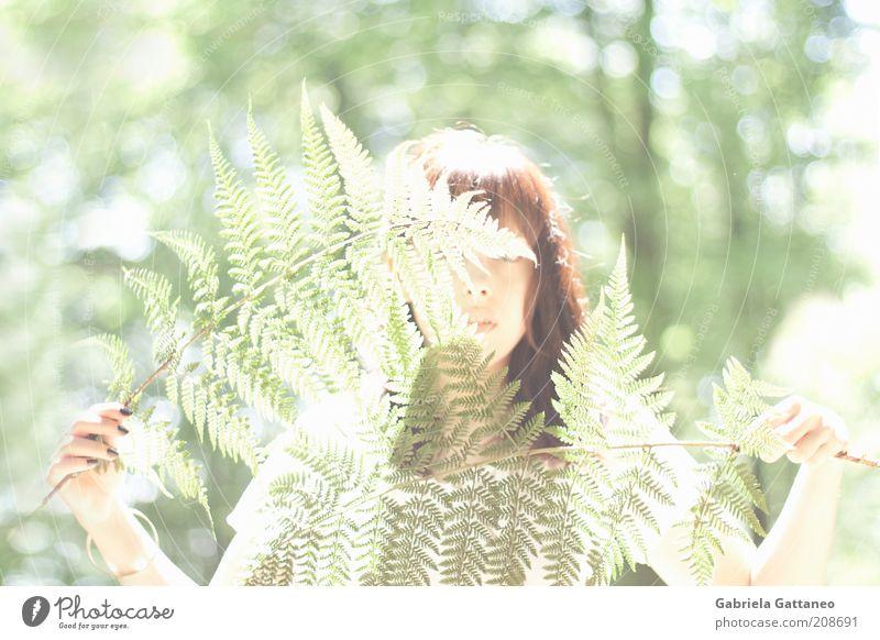 light cage feminin Natur Pflanze Farn hell grün Farbfoto Außenaufnahme verstecken verdeckt unerkannt Schüchternheit Junge Frau 18-30 Jahre geheimnisvoll brünett