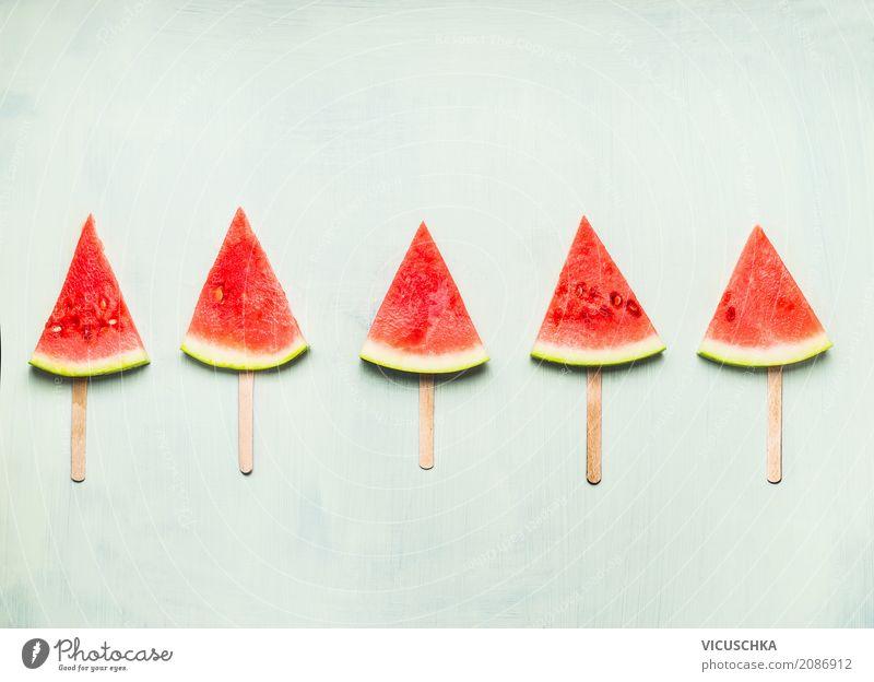 Wassermelone Eis am Stiel Lebensmittel Frucht Dessert Bioprodukte Vegetarische Ernährung Diät Saft Lifestyle Stil Design Gesundheit Gesunde Ernährung Sommer