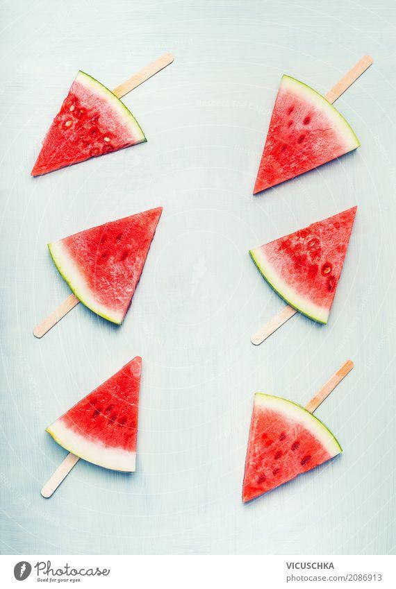 Wassermelone Eis am Stiel Frucht Dessert Ernährung Bioprodukte Vegetarische Ernährung Diät Saft Lifestyle Stil Design Gesundheit Gesunde Ernährung Leben Sommer