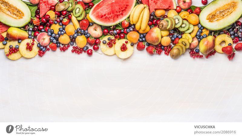 Sommer Vielfalt von Obst und Beeren Gesunde Ernährung Essen Leben Hintergrundbild Stil Lebensmittel Design Frucht Orange kaufen Fahne Apfel Bioprodukte