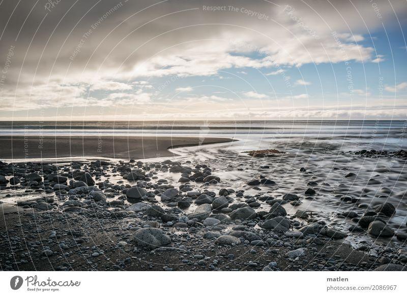 Mündung Natur Landschaft Sand Luft Wasser Himmel Wolken Horizont Frühling Wetter Schönes Wetter Küste Strand Meer dunkel blau braun grau weiß Flußmündung Island