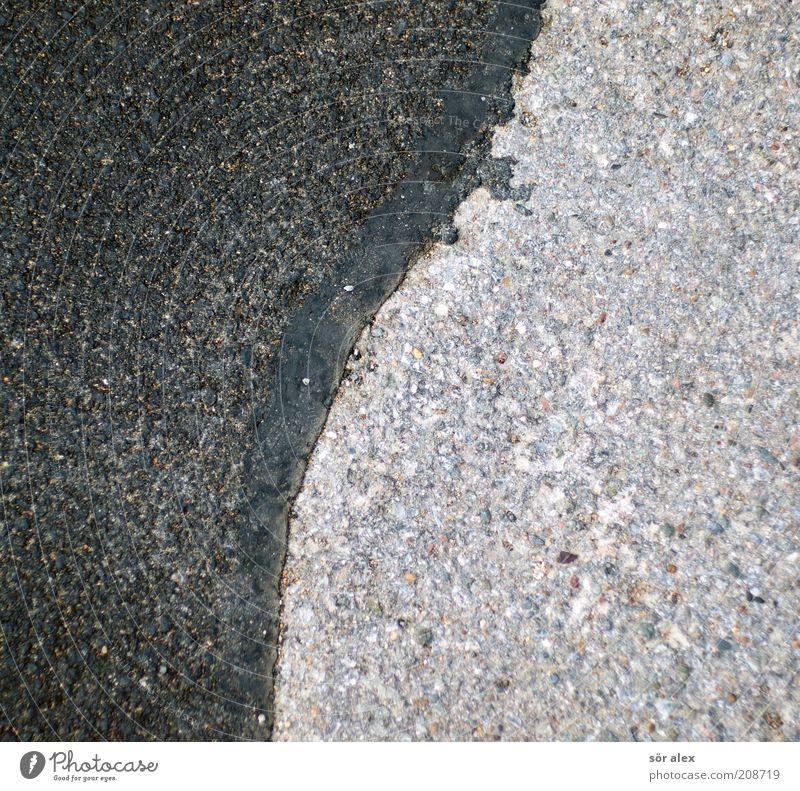 Yin-Yang Straße Straßenbelag Stein schwarz silber Teer Asphalt Verbindungstechnik Straßenschaden Strukturen & Formen Reparatur neu Naht grau Abnutzung