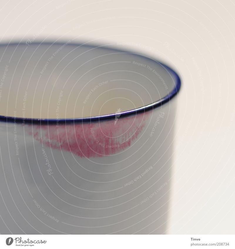Randerscheinung weiß blau rot frisch Kaffee Ecke Lippen Geschirr Frühstück Becher Nachmittag Lippenstift Mensch Mund Reflexion & Spiegelung Abdruck