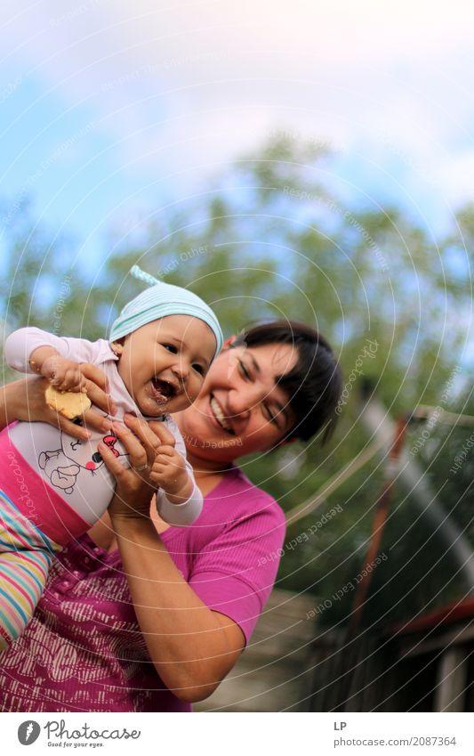 glückliche Mutter und Tochter Lifestyle Leben harmonisch Wohlgefühl Zufriedenheit Kindererziehung Mensch feminin Baby Kleinkind Frau Erwachsene Eltern