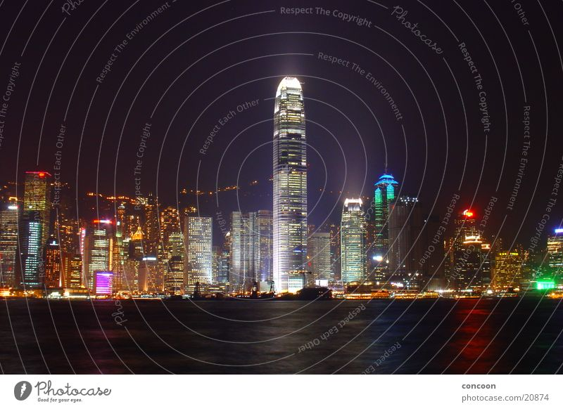 2IFC Hong Kong Hochhaus Licht Nacht groß Macht Hongkong China Los Angeles Two International Finance Centre Skyline Lampe gigantisch