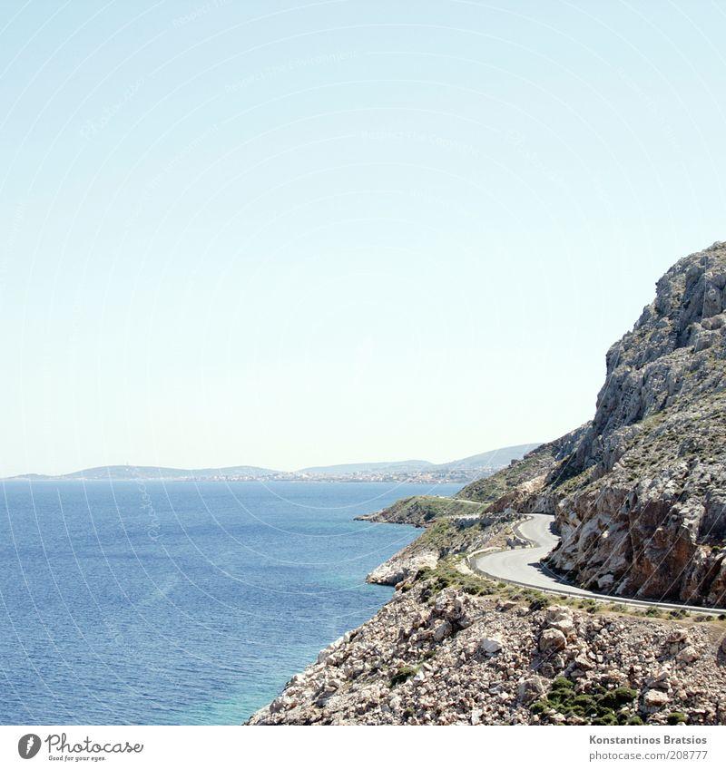 Kurven mit Abgang Himmel Wolkenloser Himmel Horizont Sonnenlicht Sommer Schönes Wetter Wärme Felsen Küste Insel Chios Griechenland Europa Verkehrswege heiß hell