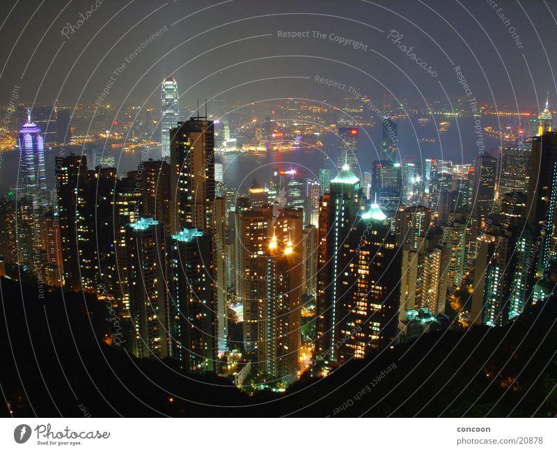 The Lights of Hong Kong Nacht fantastisch Hochhaus Stadt China Fernost Erfolg Licht Energiewirtschaft Skyline Lampe Victoria Peak Honk Kong