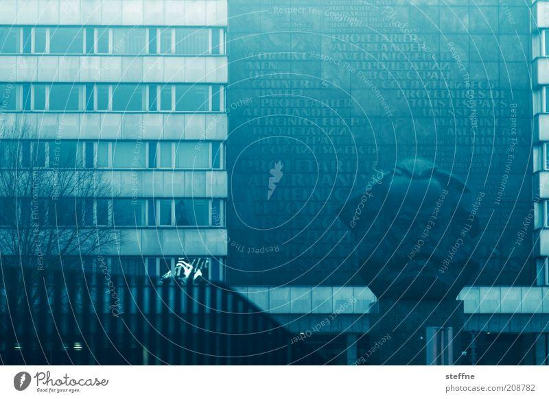 Kapitalismus - die unbekannte Sucht Chemnitz Fabrik Sehenswürdigkeit Wahrzeichen Denkmal Kopf Handel karl marx Nebel schlechtes Wetter Farbfoto mehrfarbig