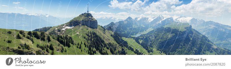 Panorama Hoher Kasten Ferien & Urlaub & Reisen Tourismus Sommer Natur Landschaft Schönes Wetter Felsen Alpen Berge u. Gebirge Berg Säntis frei gigantisch hoch