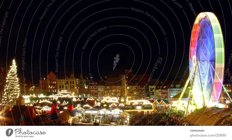 Weihnachtsmarkt Erfurt (Panorama) Weihnachten & Advent glänzend Europa Haus Weihnachtsbaum Deutschland Riesenrad Weihnachtsdekoration Thüringen Erfurt geschmückt Fachwerkhaus