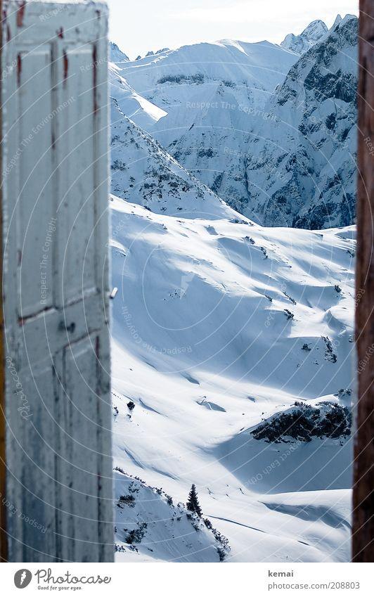 Die Tür nach Narnia Umwelt Natur Landschaft Urelemente Sonnenlicht Winter Klima Schönes Wetter Schnee Hügel Felsen Alpen Berge u. Gebirge Nebelhorn Zeigersattel