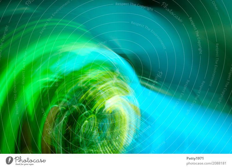 Vortex Umwelt rund blau grün türkis strahlenförmig Lichtstrahl abstrakt Strukturen & Formen Hintergrundbild Dynamik Farbfoto Experiment Muster Menschenleer
