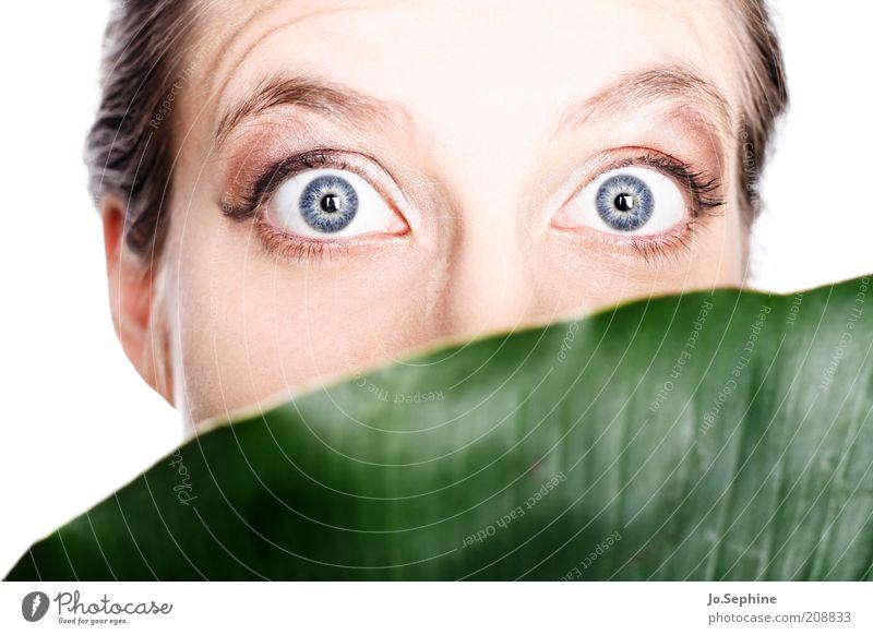 Jane? Mensch Jugendliche blau grün Blatt Gesicht Erwachsene Junge Frau feminin Gefühle 18-30 Jahre Angst verrückt gefährlich beobachten bedrohlich