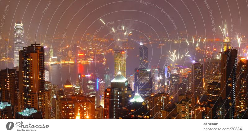 Magnificent Hong Kong  from Victoria Peak Lasershow mehrfarbig Panorama (Aussicht) Hochhaus eng beeindruckend Nacht Hongkong China Erfolg Feuerwerk