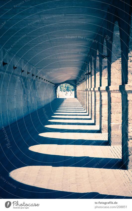 Shadowplay blau dunkel Wand Stein Mauer Wege & Pfade braun Architektur Fassade Perspektive Brücke ästhetisch trist unten Tunnel Bauwerk